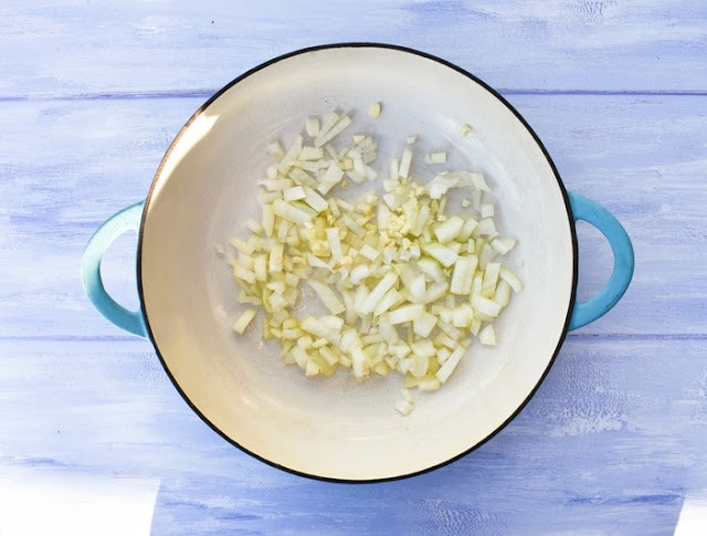 How to make marinara sauce -step 1 - saute onions and garlic in a pan