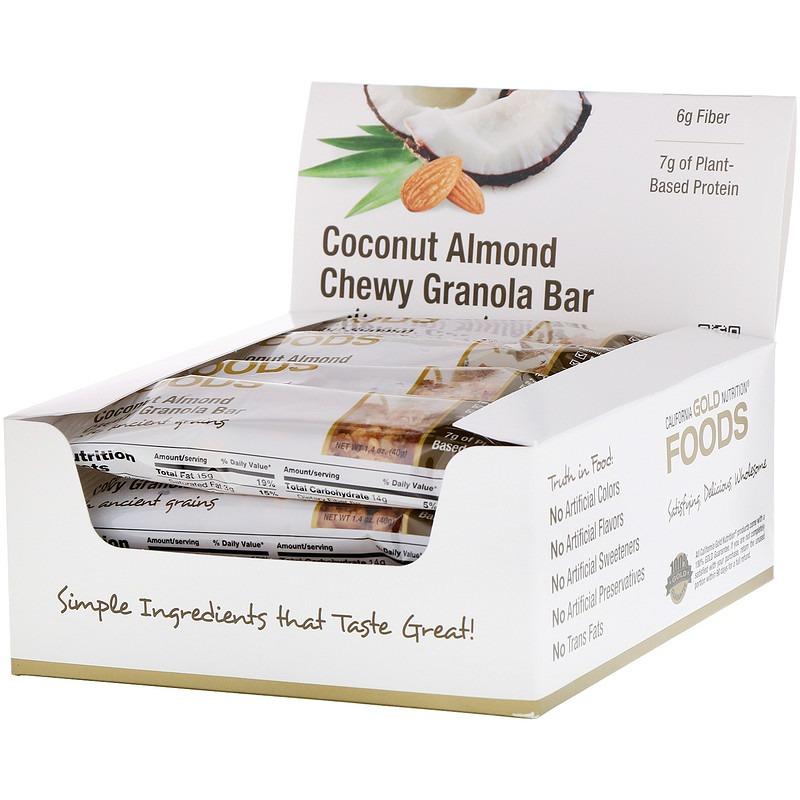 California Gold Nutrition, Foods, жевательные батончики с кокосом и миндалем, 12 батончиков весом 1,4 унции (40 г) каждый