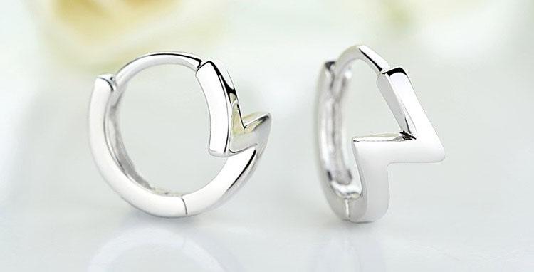 魅力閃電鍍銀耳環
