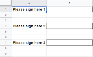 Screenshot of template sheet with signature fields to be copied