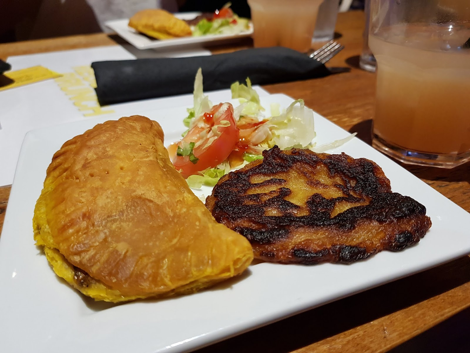 Reggae Brunch starter: Vegetable Patties and Sweet Potato and Pumpkin Fritter