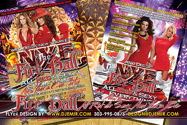 All Red Everything New Year's Eve Fire Ball Flyer Design