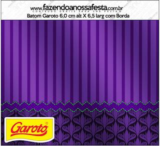 Morado con Rayas y Arabescos: Etiquetas para Candy Bar para Imprimir Gratis.
