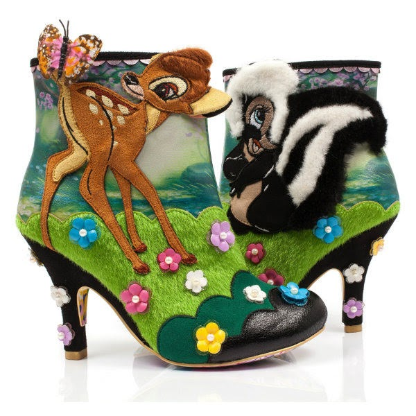 pair of Bambi deer and Flower skunk ankle boots with embellishment