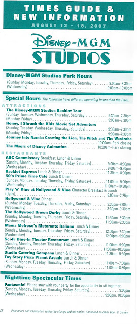 Disney's MGM Studios August 12-18 2007 Times Guide