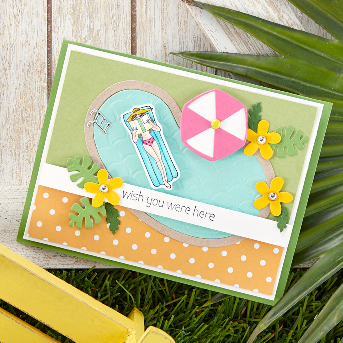 Wish You Were Here swimming pool handmade card idea with Spellbinders stamps and dies