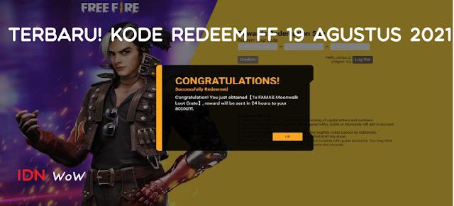 Kode Redeem FF 19 Agustus 2021 TERBARU