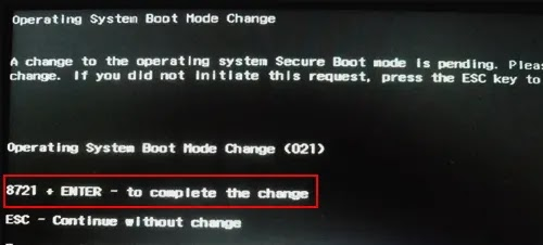 operating system boot mode change (021) hp