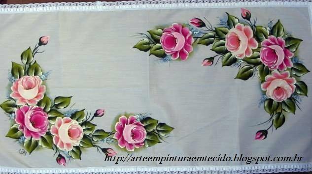 pintura em tecido trilho de mesa rosas