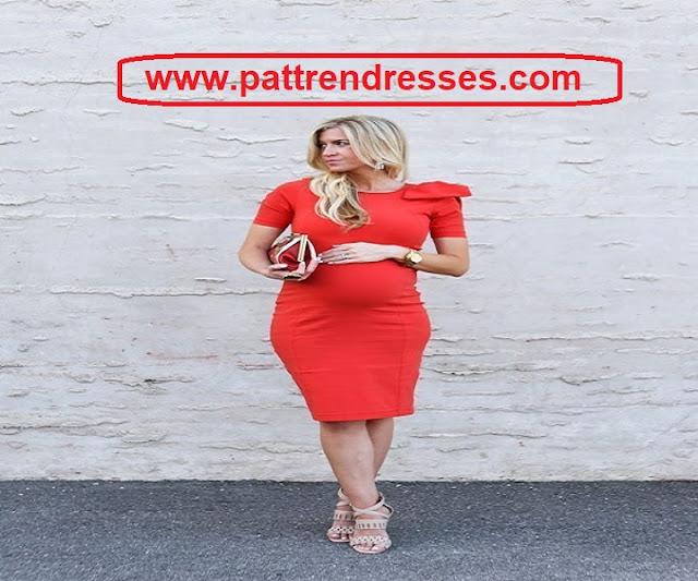 شرح تفصيل فستان سهرة للحمل مع القالب وكافة الشرح بتفصيل