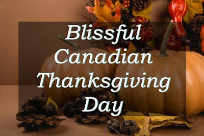 Blissful Canadian thanksgiving day written on a image of pumpkin & flower with it.