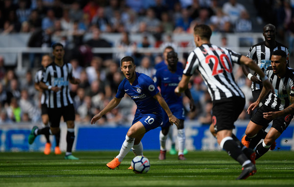 Chelsea player Eden Hazard in action during the Premier League match between Newcastle United and Chelsea at St. James Park on May 13, 2018 in Newcastle upon Tyne, England.