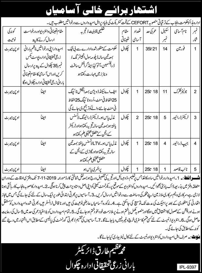 Jobs in Agriculture Research Institution Chakwal 2019