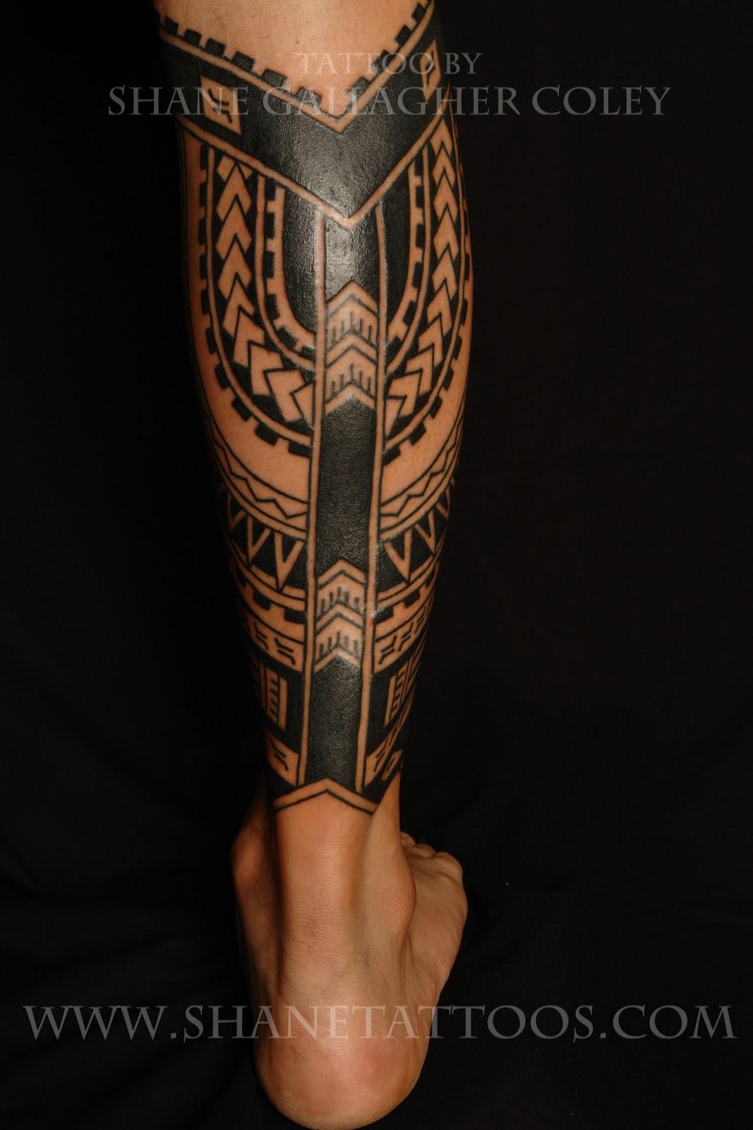 MAORI POLYNESIAN TATTOO: Polynesian Calf Tattoo