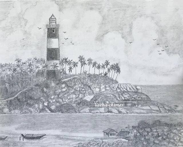 Pencil Drawing- Lighthouse at Kovalam, Kerala, India