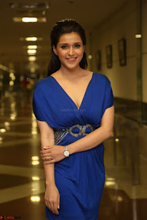 Mannara Chopra in Short Blue Dress at Rogue Movie Teaser Launch 1st March 2017 046.JPG