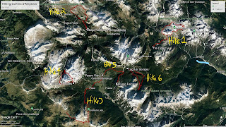 An overview of all the hikes we did centered around Cortina d'Ampezzo.