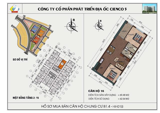 sơ đồ căn hộ chung cư B1.4 căn 16 tòa HH01B