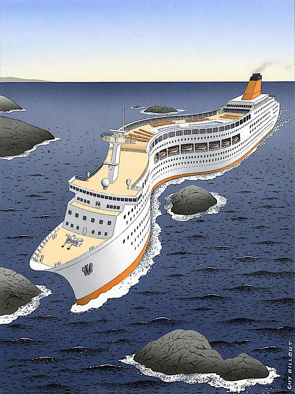 Guy Billout art, a cruise ship bends to avoid a rock