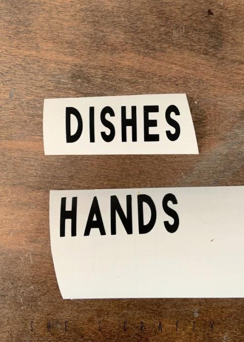 Farmhouse Soap Dispenser vinyl words - dishes, hands.