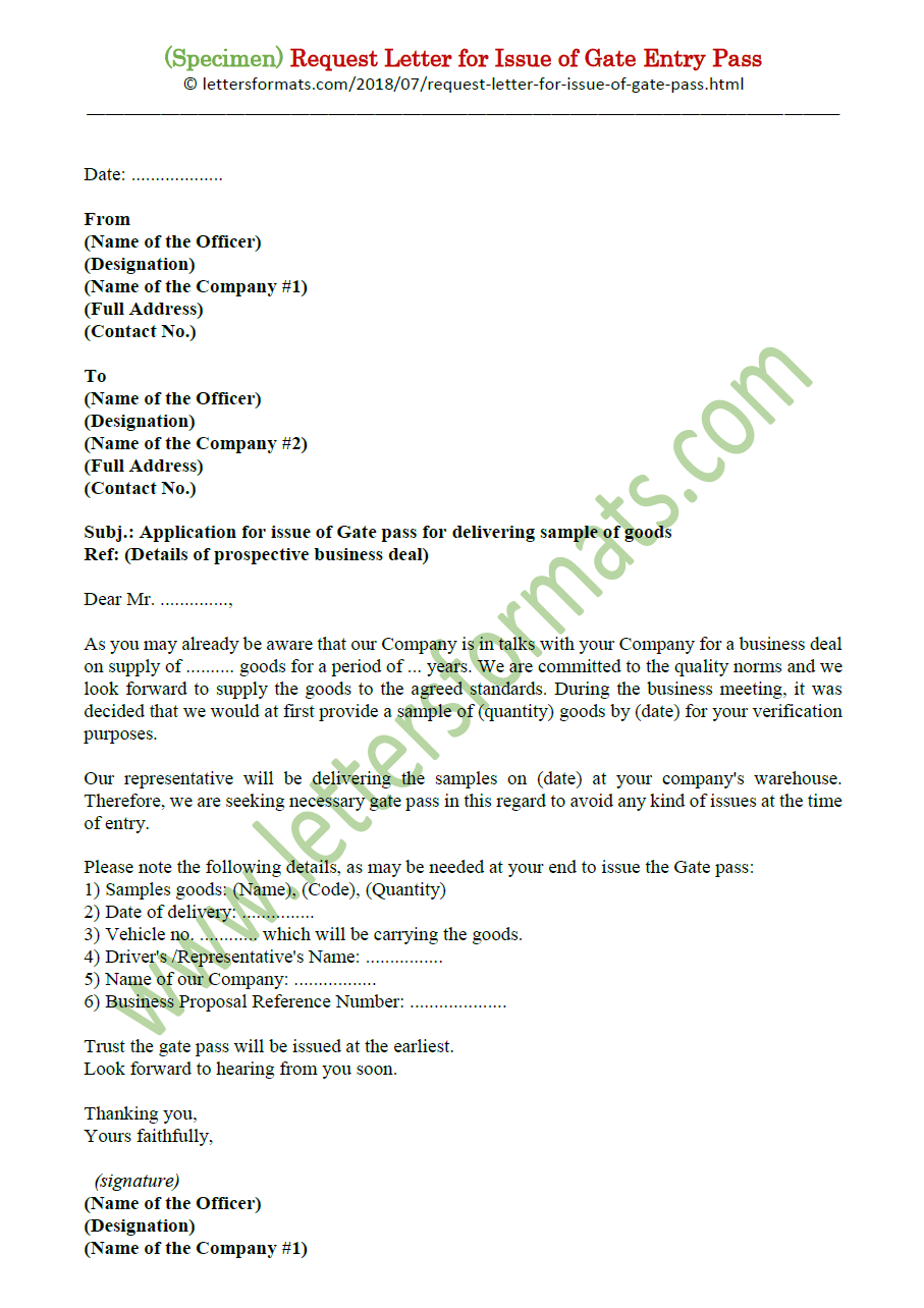 Request / Application Letter Sample for Issue of Gate Entry Pass