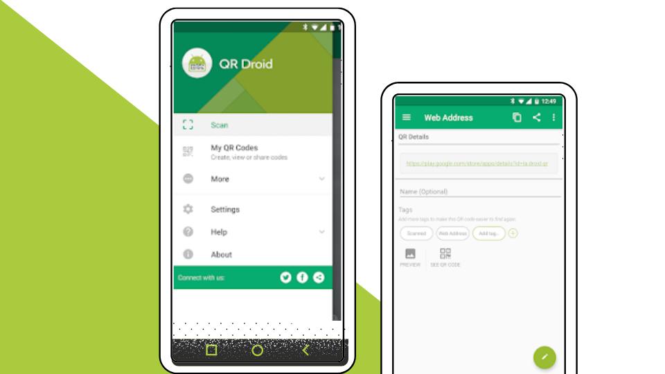 تطبيق قراءة رمز الإستجابة السريع QR Droid