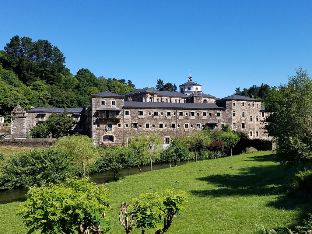 The Monastery of Saint Julian of Samos is an active Benedictine monastery in Samos, Galicia, Spain, and accommodations for the night along our Authentic Journey's pilgrimage. Photo: © Lisa Foradori.
