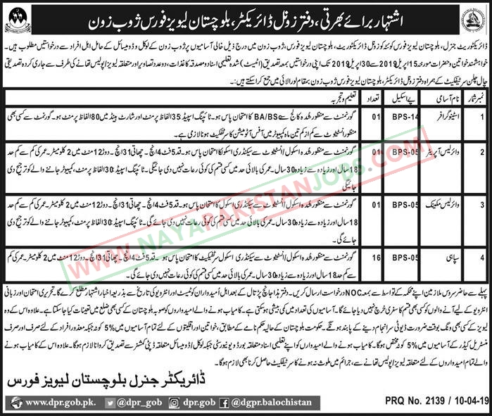 Jobs in Balochistan Levies Force for Sepahi Stenographer driver, Balochistan Levies Force Jobs april 2019
