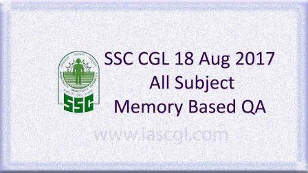 SSC CGLE 18 Aug 2017 All Subject, QA