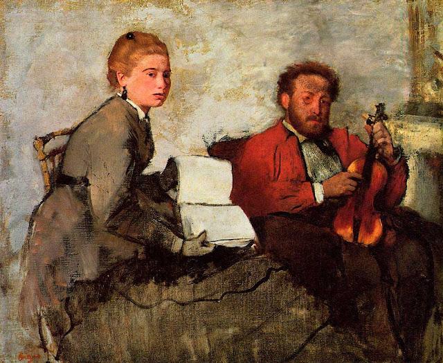 Эдгар Дега - Молодая женщина, держащая нотную тетрадь и скрипач (ок.1872)