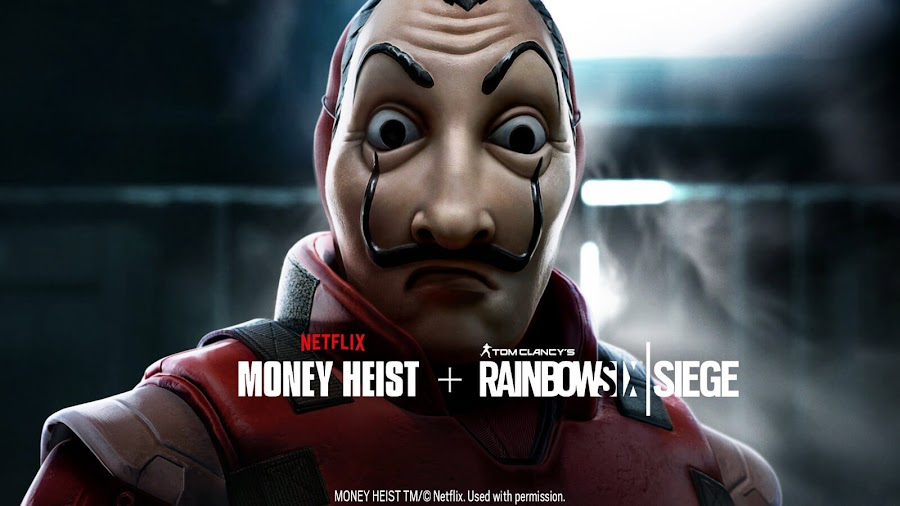 rainbow six siege money heist limited time event hostage match la casa de papel live ubisoft tactical shooter pc ps4 xb1 salvador dali mask red jumpsuit