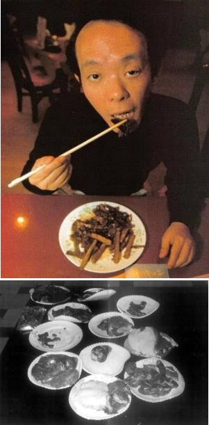 Issei Sagawa praticando canibalismo.