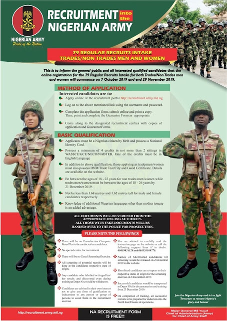 Nigerian Army 79RRI Recruitment Form 2019/2020 [Trades/Non-Trades]