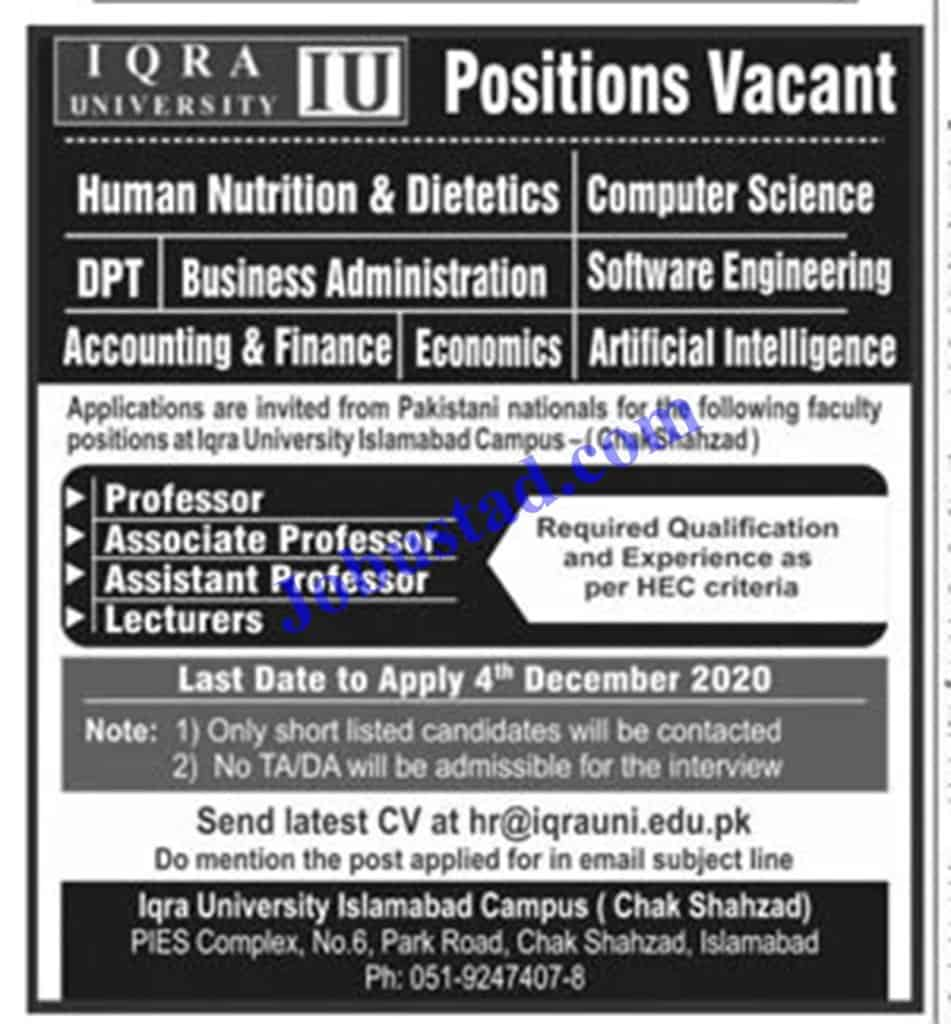 Jobs in Iqra University Islamabad Nov 2020