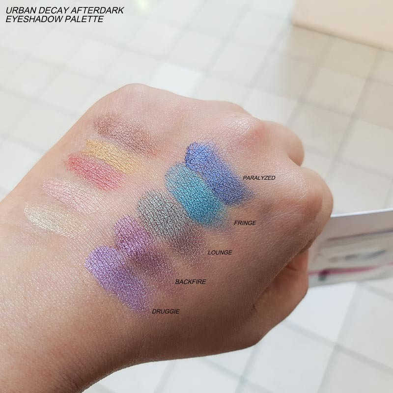 Urban Decay Afterdark Eyeshadow Palette Swatches Druggie Backfire Lounge Fringe Paralyzed