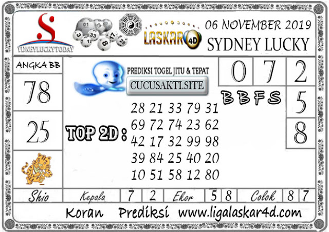 Prediksi Sydney Lucky Today LASKAR4D 06 NOVEMBER 2019