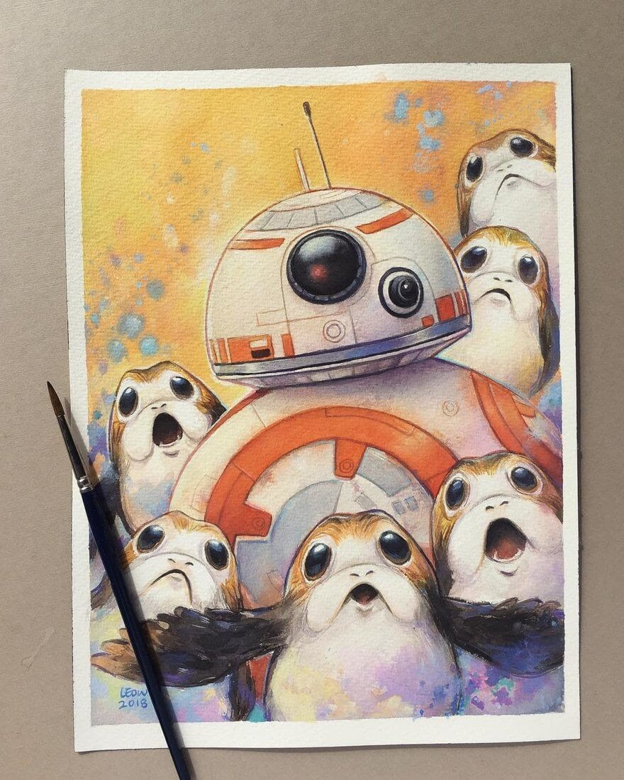 08-BB8-and-the-Porg-Leow-Fantastic-Mix-of-Watercolor-Paintings-www-designstack-co