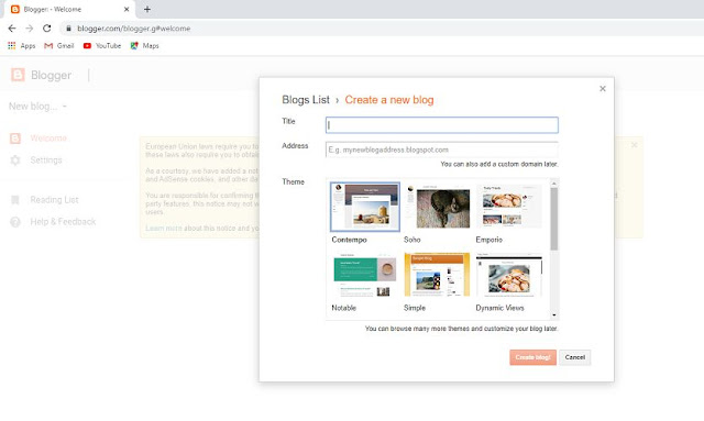 Create Blog on Blogger.com