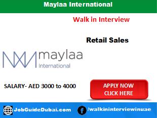 Maylaa International career for cosmetic sales staff job in Dubai