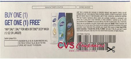 "BOGO FREE Dial Coupon from ""RetailMeNot"" insert week of 8/9/20."