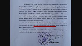 Beredar Surat Edaran Walikota Kupang Tentang Larangan Shalat Berjamaah dan Shalat Jumat