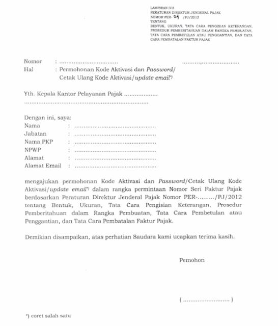 Formulir permohonan e-fin