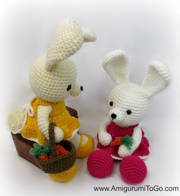 bunnies with basket of carrots
