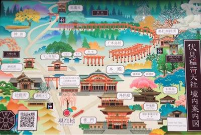 la mappa con segnati tutti i templi del santuario