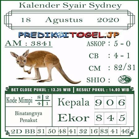 Kalender Prediksi Sidney Selasa 18 Agustus 2020