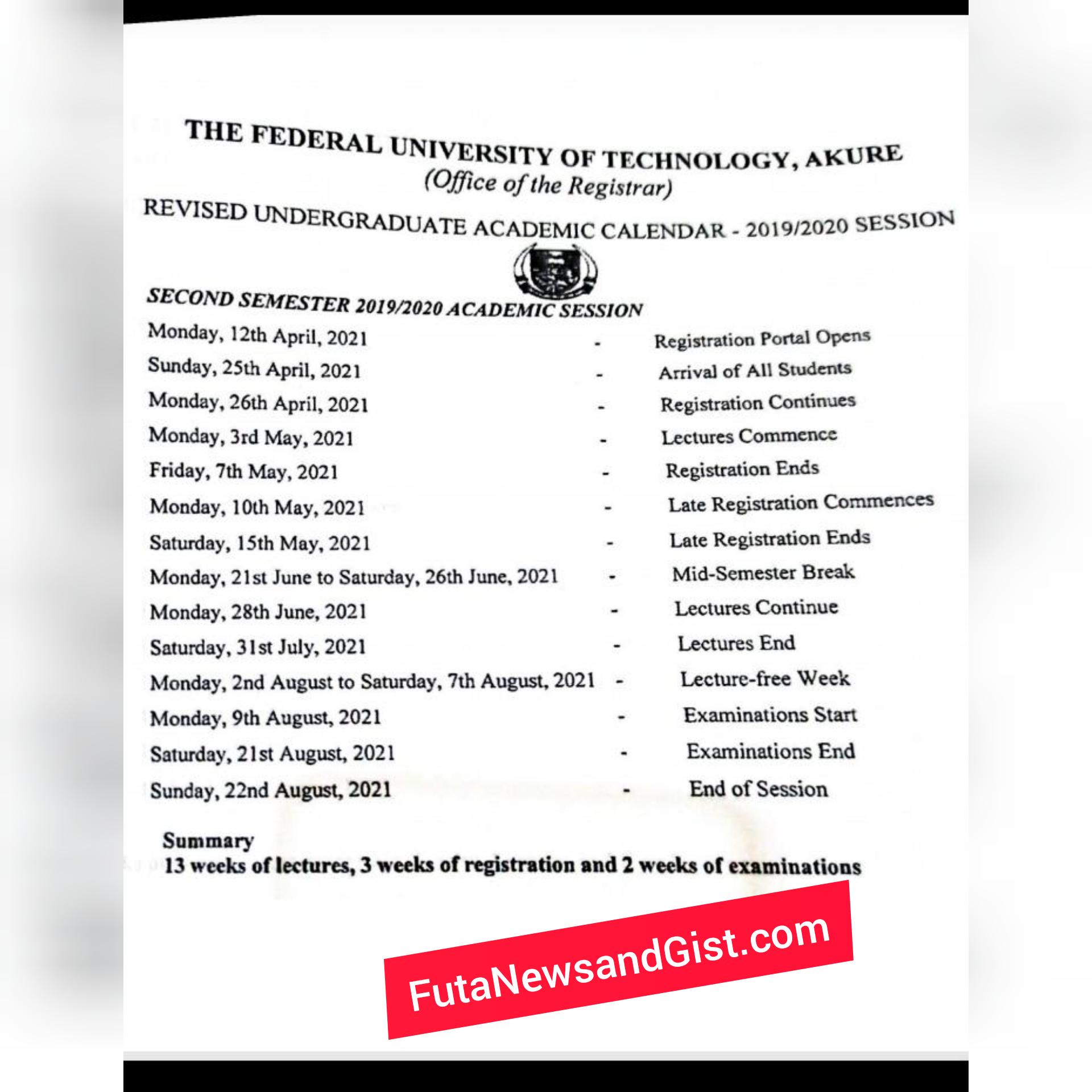 FUTA SECOND Semester Academic Calendar 2019/2020