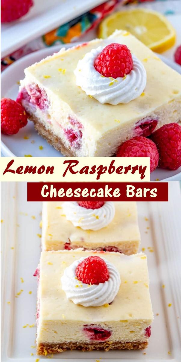 Lemon Raspberry Cheesecake Bars #cakerecipes