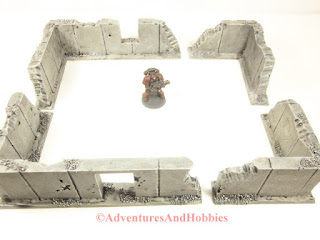 Example 2 four walled building using four individual battle damaged wall sections for 25 to 28mm scale war games - UniversalTerrain.com