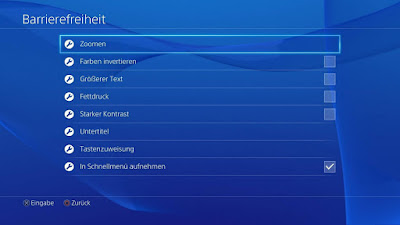 Playstation 4 (PS4) accessibility options screen in German. Barrierefreiheit