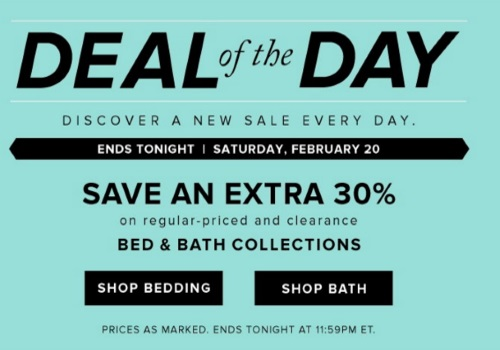 Hudson's Bay Deal of the Day Extra 30% Off Bed & Bath Collections